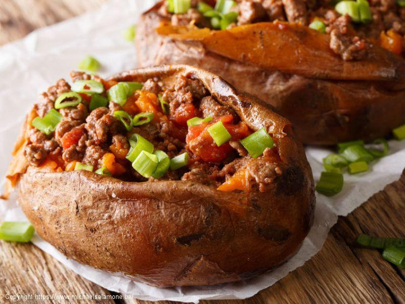 Patates douces farcies au boeuf